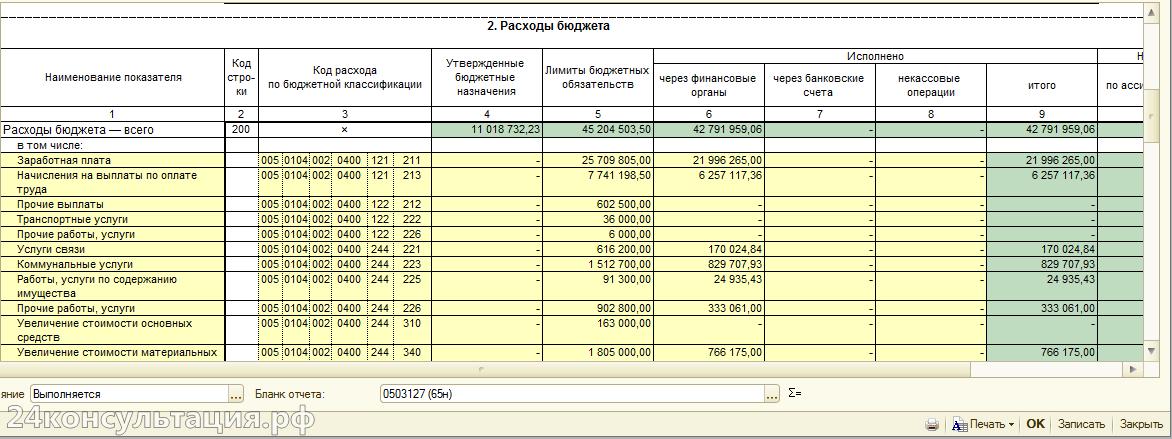 Форма 0503127. Расходы бюджета