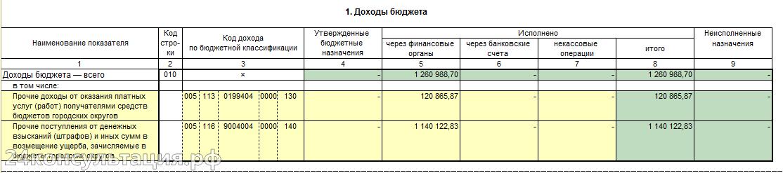 Форма 127. Доходы бюджета